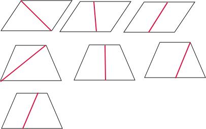 平行四边形可以被裁剪成两个完全相等的三角形三角形.梯形梯形和平行四边形平行四边形.梯形可以被裁剪成两个三角形三角形或梯形梯形.也可以裁剪成一个平行四边形和一个三角形三角形或平行四边形平行四边形
