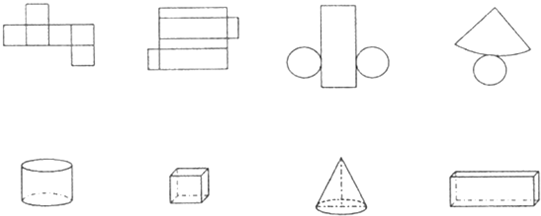 分析:根据圆柱、正方体、圆锥、长方体的特征:圆柱的上下底面是完全相同的两个圆,侧面是曲面,侧面沿高展开是一个长方形.正方体的特征是:它的6个面是完全相同的正方形,12条棱的长度都相等.圆锥的特征,圆锥的底面是圆形,侧面是一个曲面,侧面展开是扇形.长方体的特征是:6个面都是长方形(特殊情况有两个相对的面是正方形),相对的面的面积相等,相对的棱的长度相等.据此解答.