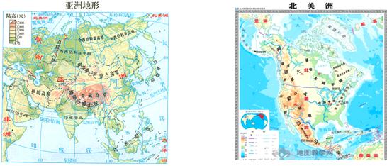 亚洲地囹�9�%9�._读亚洲地形图和北美洲地形图,回答下列问题.