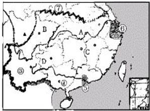 读 我国南方地区图 .完成下列要求 1 写出图中数字所代表的地理事物的名称 ①为 山脉 ③为 海峡 ④为 ⑤为 核电站 ⑥为 经济特区 2 下列叙述中.与南方地区地理特征相符的有