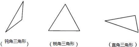 指出下面图形中的锐角三角形,直角三角形和钝角三角形图片