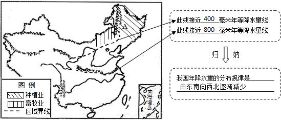 秦岭-淮河一线是800mm年等量线; (3)根据位置可知a是大兴安岭,西侧以