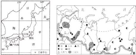 读日本.俄罗斯两国主要工业区分布图.完成下列