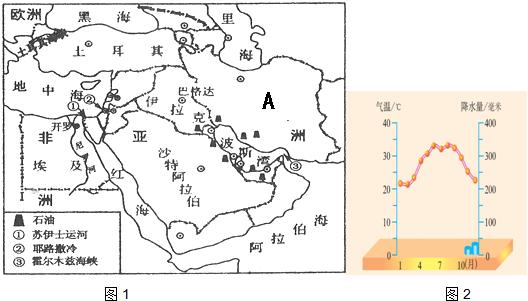 """中东地区地处""""三洲五海之地"""",其周围的""""五海""""中不属于海洋的是( )图片"""
