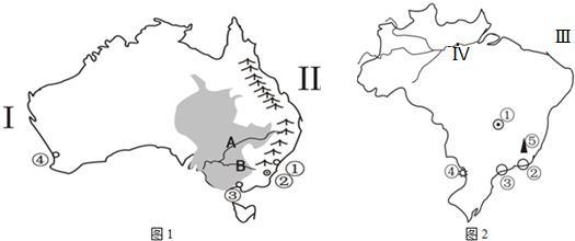 读澳大利亚,巴西地图,回答问题.图片