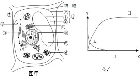 图甲是某水生高等植物细胞亚显微结构模式图,图乙为其进行某种生理
