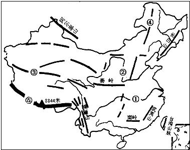 读 中国地形图 .回答下列问题 1 数码②代表 河.自西向东注入 海. 2 数码③代表 山脉.其南侧是有 世界屋脊 之称的青藏高原. 3 数码④代表 山脉.其东侧主要地形区是