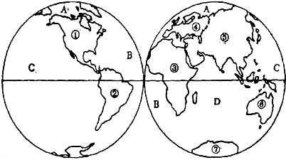 读东,西半球海陆分布图,回答下列问题.