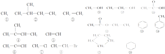 下面列出了16种有机化合物结构简式,从不同角度对它们所代表的物质