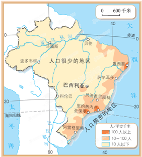"""读巴西图.回答下列问题:(1)巴西位于 洲.东临 洋.(2)亚马孙河流域分布着地球上面积最大的 .它被称为""""地球之肺 .(3)过度砍伐这里的树木将会带来什么样的后果呢? (4)巴西人口主要分布在 地区.首都是 .该城市位于热带.但气候四季如春.原因是 .(5)根据图中信息.你认为巴西大部分地区位于五带中的 带.判断理由是 ."""