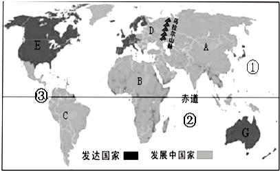 读世界发达国家和发展中国家分布示意图,回答下列问题图片