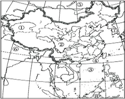 """读""""中国空白政区图"""",完成下列问题."""