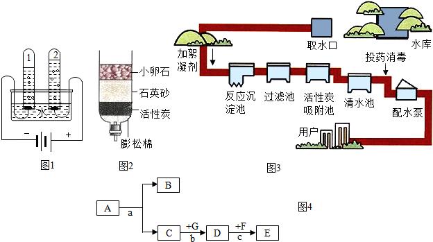 ③图3是自来水厂的净水过程示意图,其中活性炭池的作用是  .