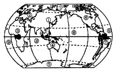 如图是七大洲,四大洋分布图,读图回答下列问题.