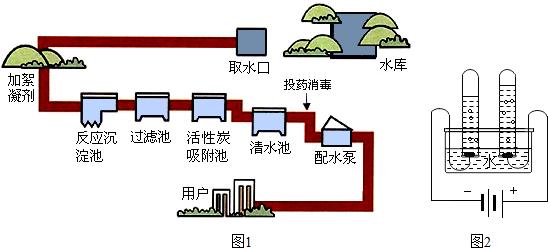 (2)如图1为西安市自来水厂净水过程示意图.