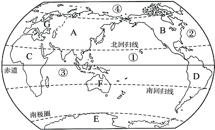 阅读世界海陆分布图,回答问题