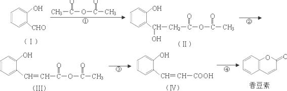 ;7.5; (2)根据物质的结构简式可知中含氧官能团的名称为羟基和羧基,比较和香豆素的官能团的转化可知反应为酯化(取代)反应, 故答案为:羟基和羧基;酯化(取代)反应; (3)香豆素水解可生成酚羟基和羧基,二者都能与NaOH反应,反应的方程式为, 故答案为:; (4)苯环上只有两个处于对位的取代基,能使氯化铁溶液呈紫色,说明有酚羟基,能发生银镜反应,说明含有-CHO,符合这样条件的香豆素的同分异构体为, 故答案为:; (5)反应、分别为加成反应和消去反应,生成C=C,所以一定条件下,CHO
