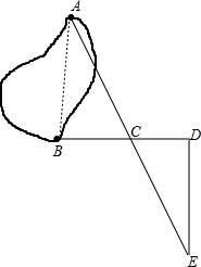 为了测量一个池塘旁两颗树之间的距离.小强利用课本学到的知识进行了如下的测量 先站在B树处.正面对准A树,然后向右转90 .并向正前方走了6步.标上记号C后.继续向前又走了