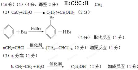 考点:考查有机推断和合成,涉及乙炔的结构和实验室制法,电子式,最简