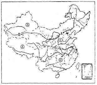 读我国四大地理区域图,完成下列要求图片