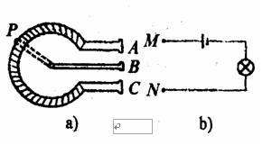 在碳膜两端.以笔画线将a图连在b图所示电路中.要求顺时针转动旋钮