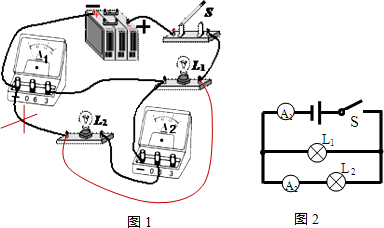 在 用电流表测电流 的实验中.某同学连接的电路如图所示. 1 连接电路前.开关应 , 2 闭合开关后.观察到灯L1 .L2 , 选填 发光 或 不发光 3 通过分析电路连接情况
