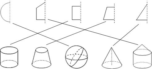 第一行的平面图形绕虚线旋转一周能得到第二行的一个几何体.请用线连接起来. 题目和参考答案 精英家教网