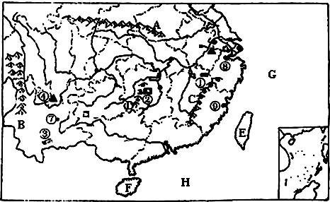 读南方地区图.写出图中数码代表的地理事物名称 1 矿产地 ① 铜矿②