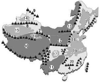 19,读中国地形图,填空