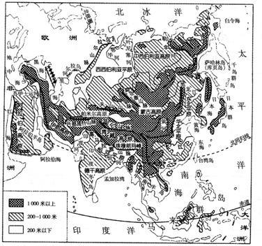 亚洲地形囹�b���_亚洲的河流受地形.地势的影响显著.其主要特征是a.自b