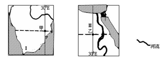 该图是世界两个区域海陆分布简图(阴影代表海洋).读图回答问题