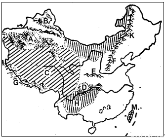 读 我国地形剖面图 和 中国地形分布空白图 回答