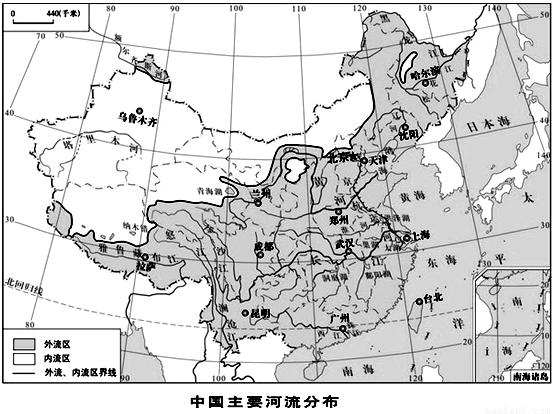 """读""""中国主要河流分布图""""完成下列问题.图片"""