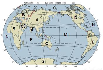 读世界海陆分布图,回答下列问题.(20分)