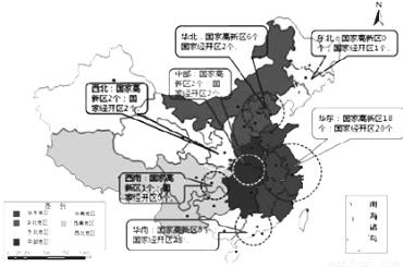 集中分布在中部大城市 b.集中分布在沿海小城镇 c.