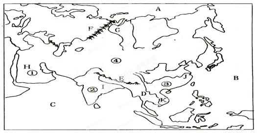讀亞洲地形分布圖,回答下列問題.(13分)