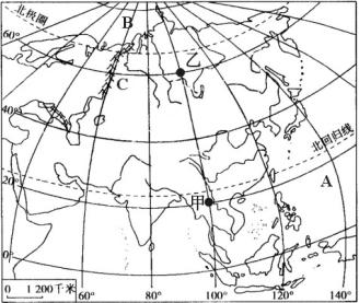 亚洲地形囹�b���_(1)图中a是 洋,b是 洋,c是 山脉. 山脉c是亚洲和 洲的分界线之一.