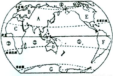 读世界海陆分布图,回答问题.