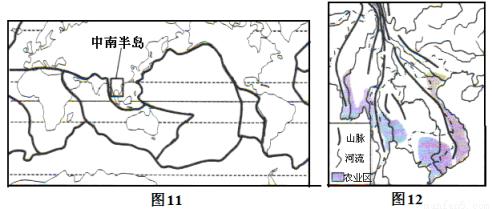 图12是中南半岛地形及农业区分布图,读图回答下列问题.