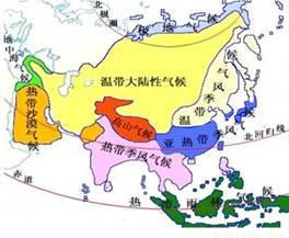 亚洲候类型分布?_如图为亚洲气候类型分布图,下列叙述不正确的是