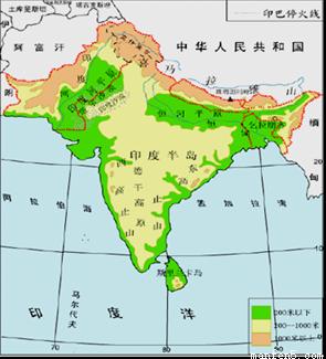 亚洲地囹�9�%9�._读印度地形和亚洲气候图,回答问题.