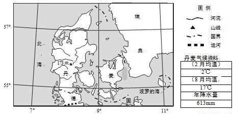 读丹麦地理位置图.回答下列各题.1.丹麦风能丰