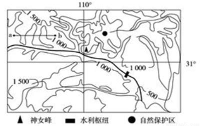 """读""""我国某地区等高线地形图"""", 能正确反映图中沿a~b线所作的地形剖面图的是 (  )"""