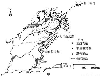 下图中,图甲为庐山风景区宾馆与交通分布图,图乙为不同坡度等级宾馆
