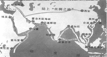 高中历史 题目详情  中国古代陆上丝绸之路和海上丝绸之路示意图图片