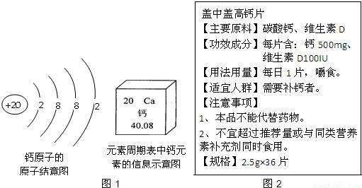 如图1是钙的原子结构示意图和钙元素在周期表中的信息