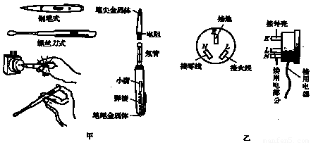 图甲是试电笔的构造和使用,图5—卜2乙;是三孔插头和插座的接线,看清