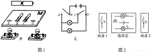 所以l1与l2并联后再与电铃串联,电铃在干路上,电路图如下图所示.