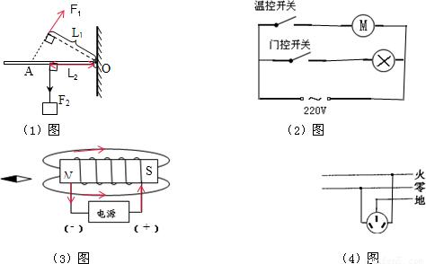 力F1. 2 电冰箱的压缩机和冷藏室内的照明小灯泡工作时互不影响.压