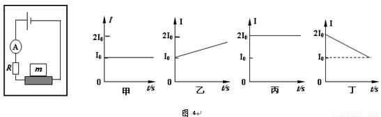6.压敏电阻的阻值会随所受压力的增大而减小. 某同学为探究电梯的运动情况.将压敏电阻 平放在电梯内并接入如图4所示的电路. 在其受压面上放一物体.电梯静止时电流表示数为I0 .当电梯做四种不同的运动时.电流表的示数分别按图甲.乙.丙.丁所示的规律变化.下列判断中正确的是 ( ) A.甲图表示电梯一定做匀速运动 B.乙图表示电梯可能向上做匀加速运动 C.丙图表示电梯运动过程中处于超重状态 D.丁图表示电梯可能向下做匀减速运动 【查看更多】